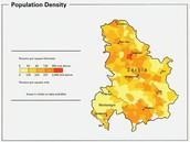 Densidad de población de Serbia
