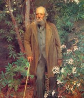 This is Olmsted posing in front of flowers and trees, showin how he made these kind of inviorments.