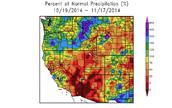 Percent of Normal Precipitation (%) 10/19/14 - 11/17/14