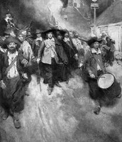 Bacon and his troops marching towards Jamestown