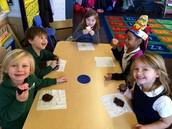 Enjoying chocolate cupcakes