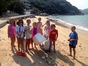 Evie (4S) and her friends cleaning at Lamma too!