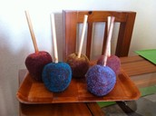Chamoy Apples sparinkled with fruit miguelito.