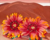 Red Hills with Flowers