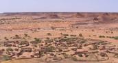 Hier zie je een dorpje.