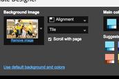 Background- change or upload a pic (change color design)