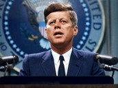 John F. Kennedy delivering his legendary inaugural speech.