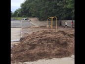 We are patiently waiting for the dirt mound to be gone and our new playset to be set up.