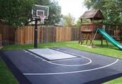 A basketball net in backyard