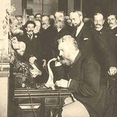 Alexander Graham Bell Talking Into The Telephone
