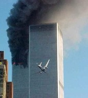 United Airlines Flight 75 about to fly into the South Tower 17 minutes after the American Airlines Flight 11 crashed into the North Tower