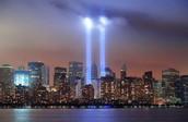 Lights Displaying Twin Towers