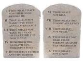 A close up of the Ten Commandments