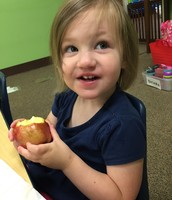 Caroline is doing a great job on her apple for bring something Appley Day.