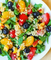 Quinoa Salad with Spinach,  Strawberries & Blueberries