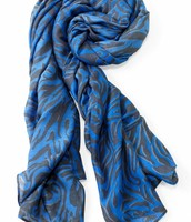 Blue and Grey Tiger Print Scarf- SOLDTOCAILEN
