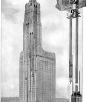 Un gratte-ciel avec un ascenseur électrique.