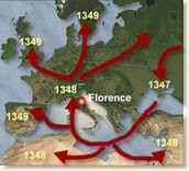 The plague's route through a lot of Italy