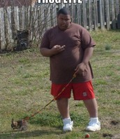 Diamond JOHNSON taking his dog on a walk