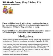 5th Grade Camp Important Information