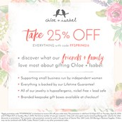 Save 25% off the entire boutique!