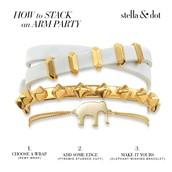 Pyramid Stud Cuff (middle bracelet) gold