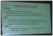 Learning Goals for Professional Learning-Number Talks