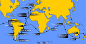 HMS Beagle's route on the ocean