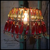 $155 - Wire Basket Beaded Pendant Lamp