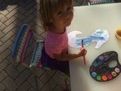 Oona wanted to paint her seahorse blue