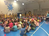Reading Challenge Kick-Off with BHS cheerleaders & football players