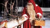Santa  feeding a deer