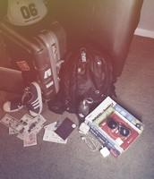 Backpack, Hat, Sun glasses, Sneakers, Water Bottle