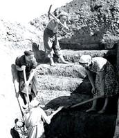 Жительницы Москвы за работой по созданию оборонительных укреплений под Москвой. 1942 г.