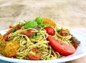 tomatoes, pesto, and handmade pasta