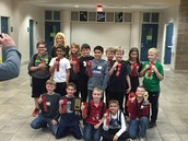 Our team placed second.  Nathanael Bundy from Mrs. Moses' class took home a 6th place trophy.  We are going to state!