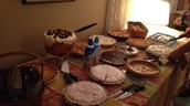 This is the desert table on Thannksgiving. There was 17 pies!