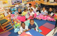 Students participating in Curl Up and Read Day!
