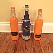 Wine Bottle Display with Chalkboard label