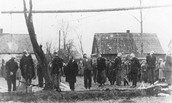 Polish citizens hanged by the Nazis in Sosnowiec. Poland, wartime.