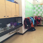 Coat hooks and sink area in K-2 Classrooms