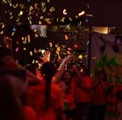Confetti Falls on Dancers
