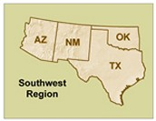 States in the Southwest region