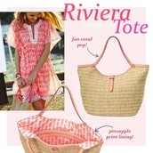 Brand new, Riveira Tote -- Natural/Coral- Great for spring summer/ warm destinations! Was $94, now $40!