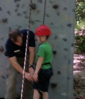 Logan is getting ready to climb!