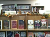Fall Decorations on New Book Display