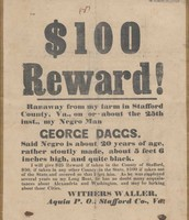 Rewards for capturing runaway slaves