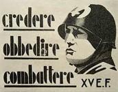 """חייל לבוש קסדה המסמלת מלחמה וכוח. בכרזה כתוב """"להאמין, לציית, להילחם""""."""