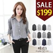 糖罐子*原價320 特價199*多款造型反摺袖雪紡襯衫→預購+現貨