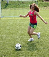 Female Playing Soccer